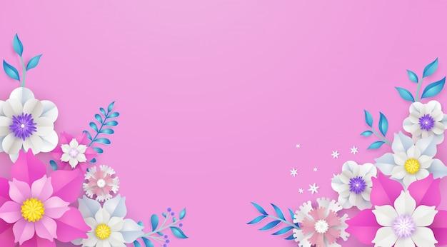 Bloemen en bloemkadermalplaatje in vectordocument kunstconcept.