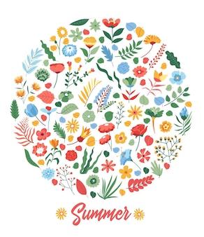 Bloemen en bloesem, bloeiende planten en bloemen op afgeronde banner. zomerseizoen, heldere uitnodigingskaart of poster. boeket en bloeiende takken met bladeren. vector in vlakke stijlillustratie