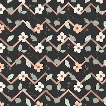 Bloemen en chevron naadloos patroon