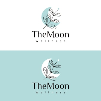Bloemen en maan schoonheid logo-ontwerp