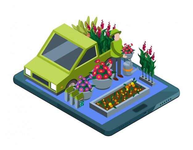 Bloemen en planten online. isometrische bloemenwinkel en plant levering illustratie