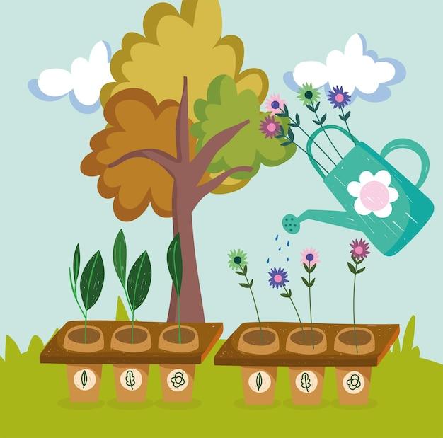 Bloemen en planten water geven