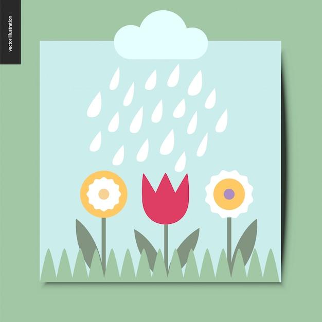 Bloemen en regen