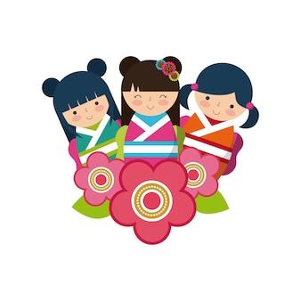 Bloemen en schattige japanse meisjes pictogram