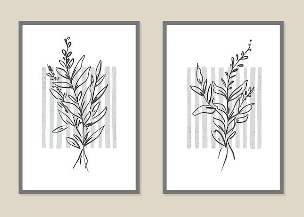 Bloemen en takken kunst aan de muur in lijnstijl