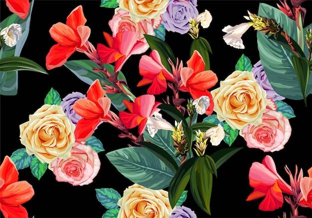Bloemen en tropische naadloze patroon-vector