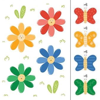 Bloemen en vlinders kleuraanpassingsspel voor kinderen. voorschoolse activiteitenpagina voor peuters. illustratie