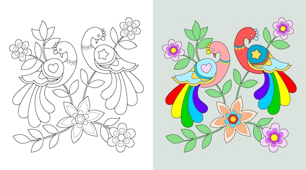 Bloemen en vogels kleurboek of pagina, vectorillustratie.