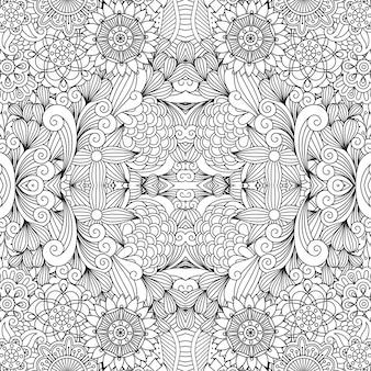 Bloemen en wervelingen lijn decoratief patroon