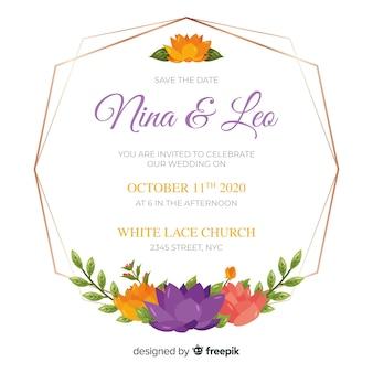 Bloemen frame bruiloft uitnodiging
