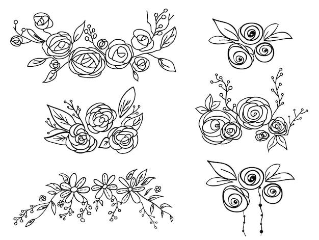 Bloemen frame set. vector illustratie.