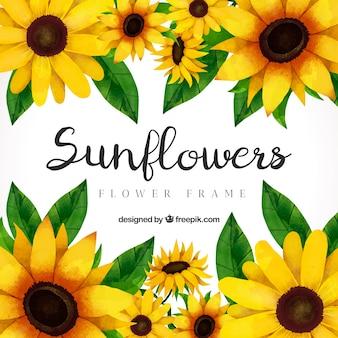 Bloemen frame, zonnebloemen