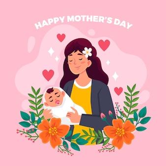 Bloemen gelukkige moederdag en vrouw met kind