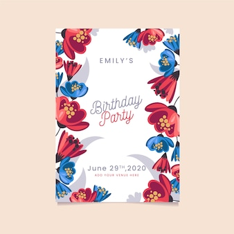 Bloemen gelukkige verjaardagspartij uitnodiging