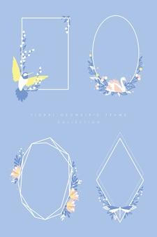 Bloemen geometrisch frame dat met zoemende vogel, zwaan en draakvlieg wordt geplaatst