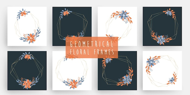 Bloemen geometrische kaders
