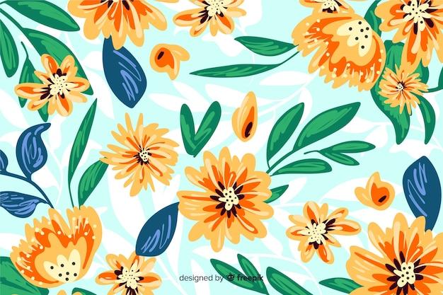 Bloemen geschilderde hand als achtergrond