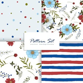 Bloemen, gestippelde en gestreepte naadloze patroon set.