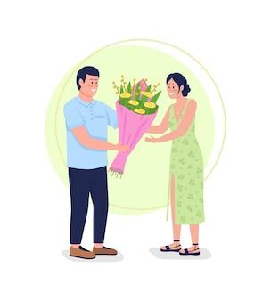 Bloemen geven 2d. gelukkig vriendje verrassende lachende vriendin met cadeau plat
