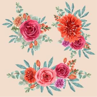 Bloemen gloeiende ember boeket met roos, leeuwenbek, tulp voor decoratie.