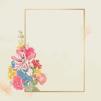 Bloemen gouden frame, geremixt van de 18e-eeuwse kunstwerken uit het smithsonian-archief.