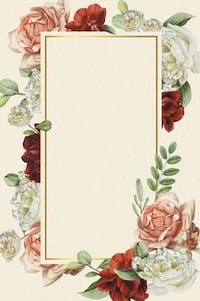 Bloemen gouden frame op beige achtergrond