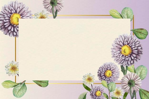 Bloemen gouden frame op paarse achtergrond