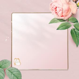 Bloemen gouden vierkant frame