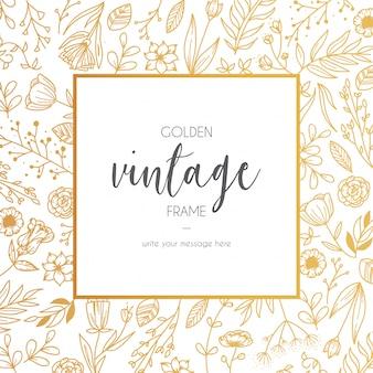 Bloemen gouden vintage frame