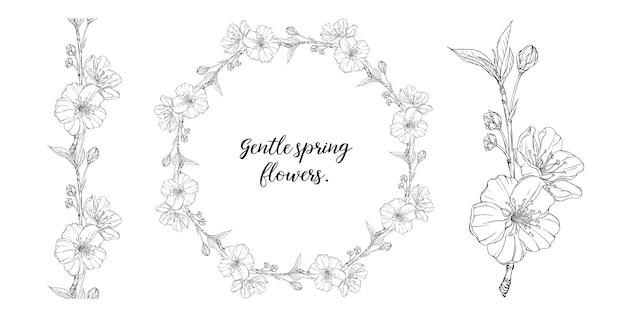 Bloemen grafische compositie met lentebloemen