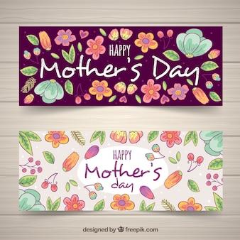 Bloemen hand getrokken banners voor moederdag