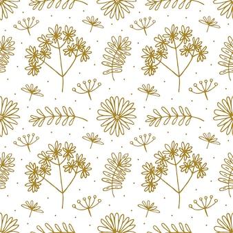 Bloemen hand getrokken doodle naadloos patroon