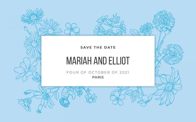 Bloemen handgetekende huwelijksuitnodiging in blauwe kleur