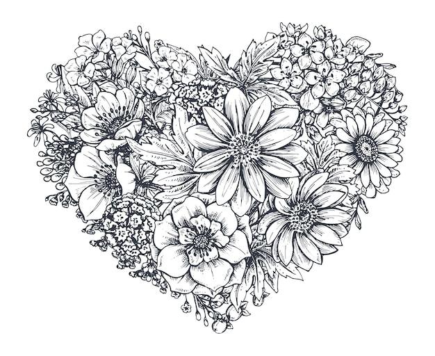 Bloemen hart. hand getrokken lentebloemen en planten. monochroom