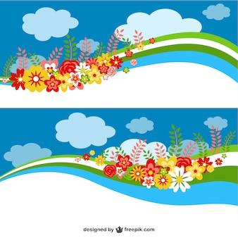 Bloemen hemel banners ontwerp