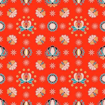 Bloemen hongaars ornament naadloos patroon