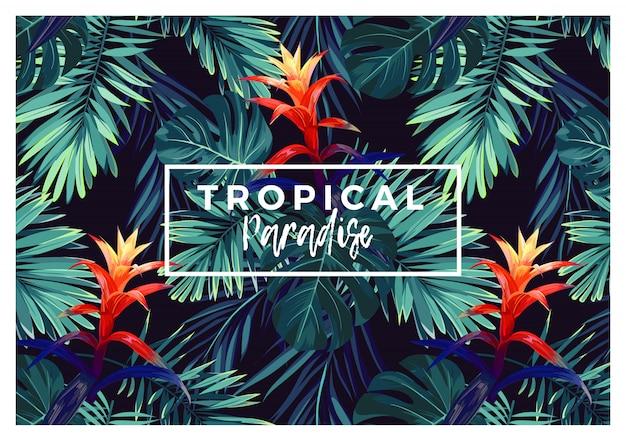 Bloemen horizontaal briefkaartontwerp met guzmania-bloemen, monstera en koninklijke palmbladeren. exotische hawaiiaanse achtergrond.