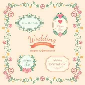 Bloemen huwelijk badges