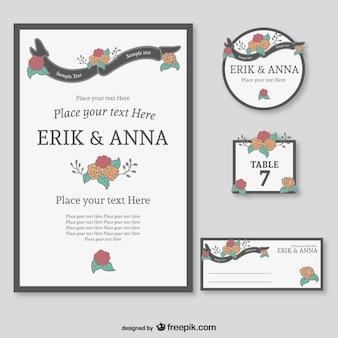 Bloemen huwelijk reeks van grafische afbeeldingen