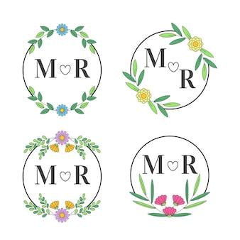 Bloemen huwelijksmonogrammen