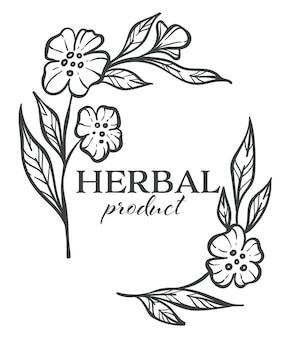Bloemen in bloei en gebladerte, geïsoleerd kruidenproductlogotype, zwart-wit schetsoverzicht