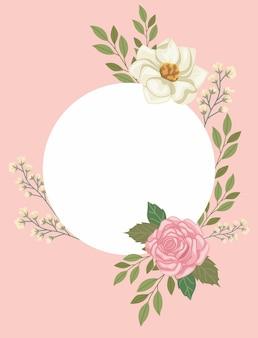 Bloemen in cirkelvormig frame