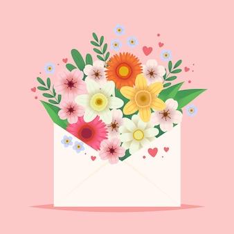 Bloemen in een envelop.