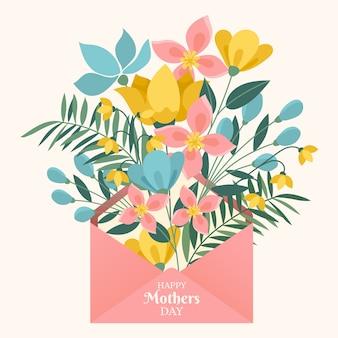 Bloemen in envelop met moederdag belettering