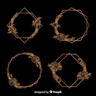Bloemen in geometrische gouden frame-collectie