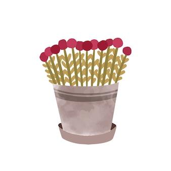 Bloemen in pot hand getekend vectorillustratie. mooie bloesem met rode bloemblaadjes in geïsoleerde bloempot