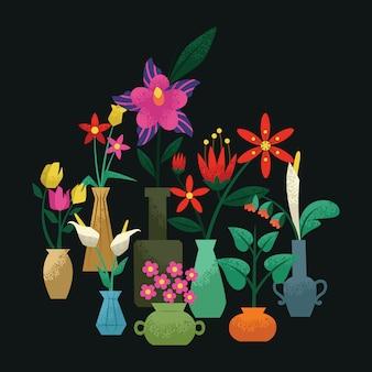 Bloemen in vaas met graan in de schaduw
