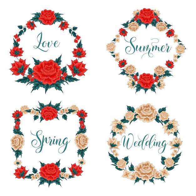 Bloemen instellen. floral frames. rode rozen. witte rozen. wenskaarten decoratie. krans van bloemen.