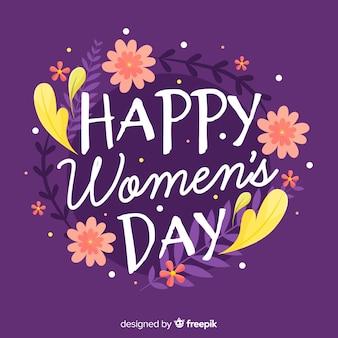 Bloemen kalligrafische vrouwendag achtergrond