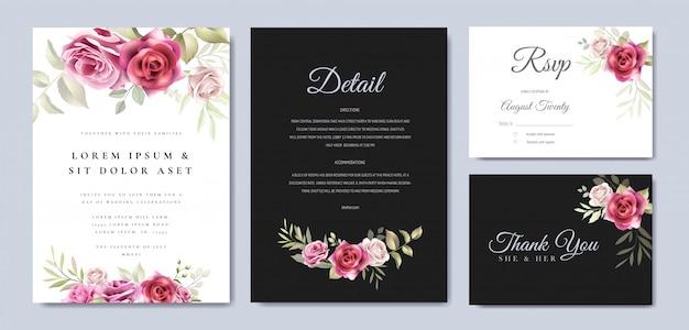 Bloemen krans bruiloft uitnodiging kaartsjabloon
